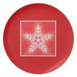 Copo de nieve de la estrella del rojo y del blanco platos