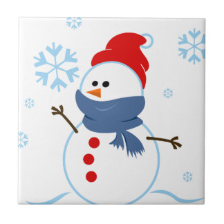 copo de nieve de la nieve del muñeco de nieve de l azulejo ceramica