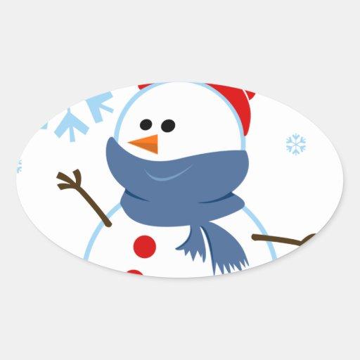 copo de nieve de la nieve del muñeco de nieve de l calcomanía óval personalizadas