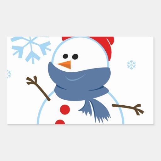copo de nieve de la nieve del muñeco de nieve de rectangular pegatinas