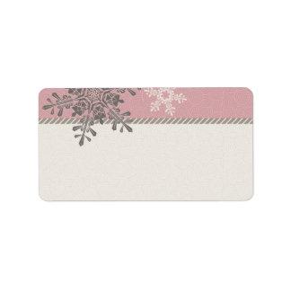 Copo de nieve de marfil rosado que casa etiquetas etiqueta de dirección