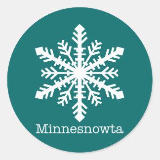 Copo de nieve de Minnesnowta Pegatina Redonda