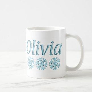 Copo de nieve de Olivia Taza Básica Blanca