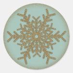 Copo de nieve de oro 2 del vintage etiquetas redondas