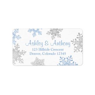 Copo de nieve de plata azul que casa el remite etiquetas de dirección