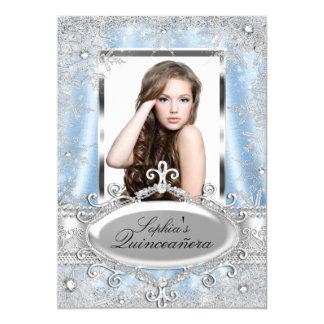 """Copo de nieve de plata azul Quinceanera de la joya Invitación 5"""" X 7"""""""
