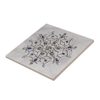 Copo de nieve de plata de las gemas azulejos ceramicos