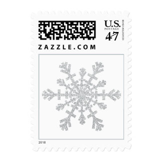 Copo de nieve de plata del brillo para el navidad timbres postales