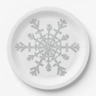 Copo de nieve de plata del navidad del brillo en platos de papel