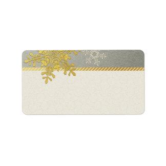 Copo de nieve de plata del oro que casa etiquetas etiquetas de dirección