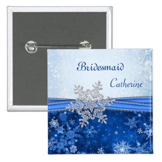 Copo de nieve de plata en dama de honor azul del b pins
