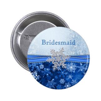 Copo de nieve de plata en dama de honor azul pins