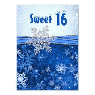 """Copo de nieve de plata en el fiesta azul del dulce invitación 4.5"""" x 6.25"""""""
