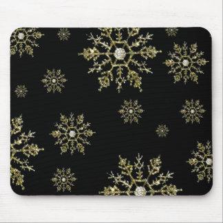 Copo de nieve de plata Mousepad del navidad Tapete De Ratón
