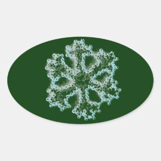 Copo de nieve de plata calcomanías de ovaladas
