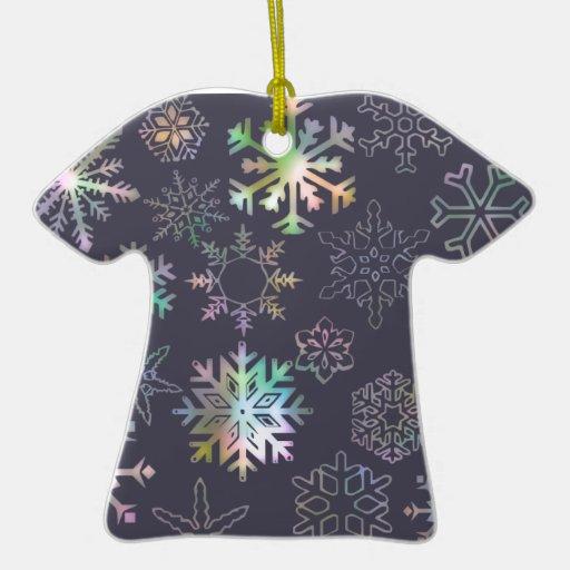 Copo de nieve adorno de cerámica en forma de camiseta