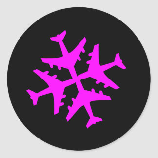 Copo de nieve del aeroplano pegatina redonda