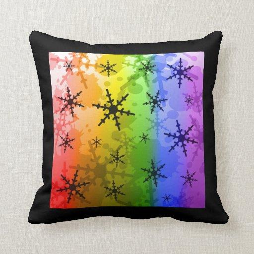 Copo de nieve del arco iris cojin