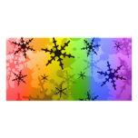 Copo de nieve del arco iris tarjeta personal con foto