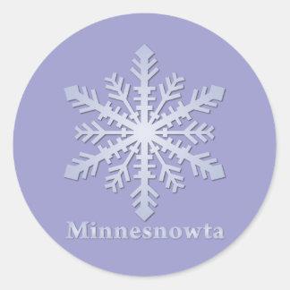 Copo de nieve del azul de Minnesnowta Pegatina Redonda