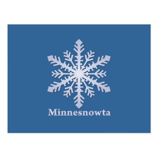 Copo de nieve del azul de Minnesnowta Tarjetas Postales