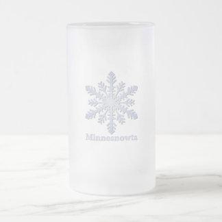 Copo de nieve del azul de Minnesnowta Taza De Cristal