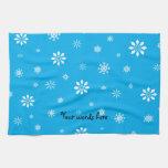 Copo de nieve del azul y del blanco de cielo toallas de mano