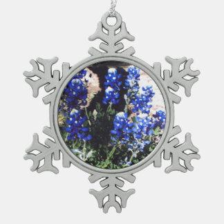 Copo de nieve del Bluebonnet Adorno De Peltre En Forma De Copo De Nieve