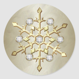 Copo de nieve del día de fiesta del navidad del pegatina redonda