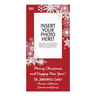 Copo de nieve del día de fiesta del navidad - rojo tarjetas personales con fotos