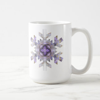 Copo de nieve del fractal en púrpura y oro taza