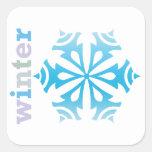 Copo de nieve del invierno colcomania cuadrada