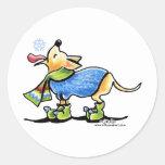 Copo de nieve del invierno de la chihuahua etiquetas redondas