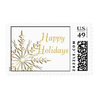 Copo de nieve del invierno del oro buenas fiestas sello postal