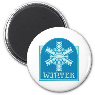 Copo de nieve del invierno imán redondo 5 cm