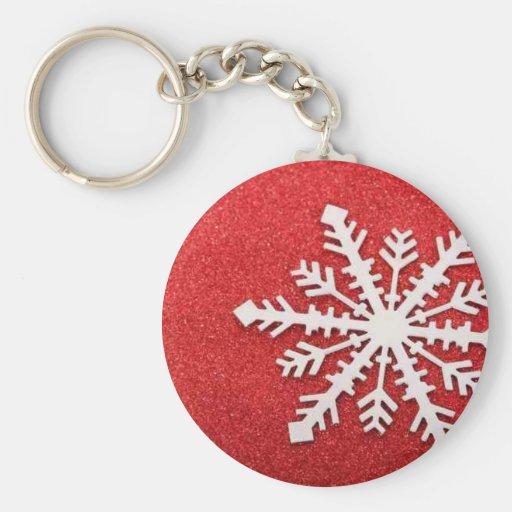 Copo de nieve del navidad blanco en brillo rojo llaveros personalizados