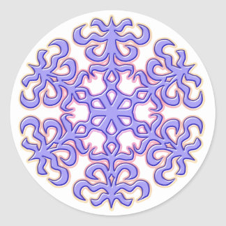 Copo de nieve del navidad de la lavanda pegatina redonda