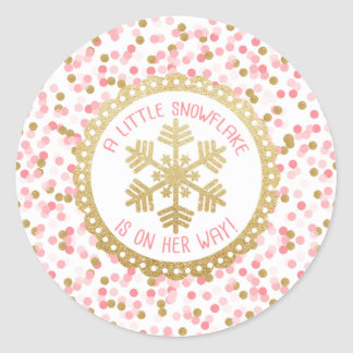 Copo de nieve del oro de la etiqueta engomada del