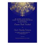 Copo de nieve del oro en el boda elegante azul del anuncios personalizados