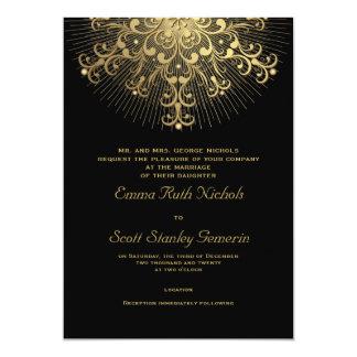 """Copo de nieve del oro en el boda elegante negro invitación 5"""" x 7"""""""