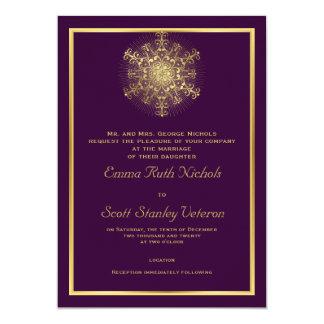 """Copo de nieve del oro en el boda elegante púrpura invitación 5"""" x 7"""""""
