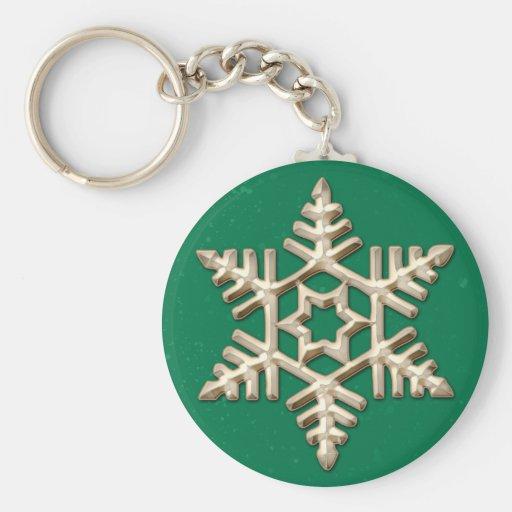 Copo de nieve del oro en llavero verde del día de
