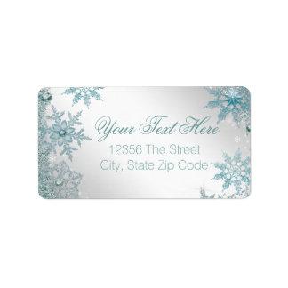 Copo de nieve elegante del azul del trullo etiqueta de dirección