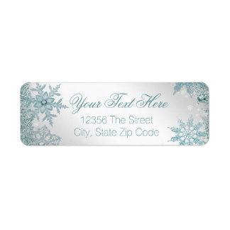 Copo de nieve elegante del azul del trullo etiqueta de remitente