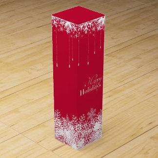 Copo de nieve elegante del día de fiesta en rojo cajas para botellas de vino