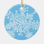 Copo de nieve en azul adorno de navidad