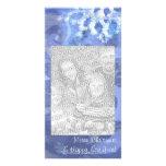 copo de nieve en el azul 8, vientos del invierno tarjetas con fotos personalizadas