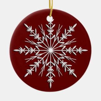 Copo de nieve en el ornamento redondo anticuado ornamente de reyes