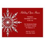 Copo de nieve en la invitación roja de la casa abi