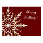 Copo de nieve en la postal roja del negocio buenas